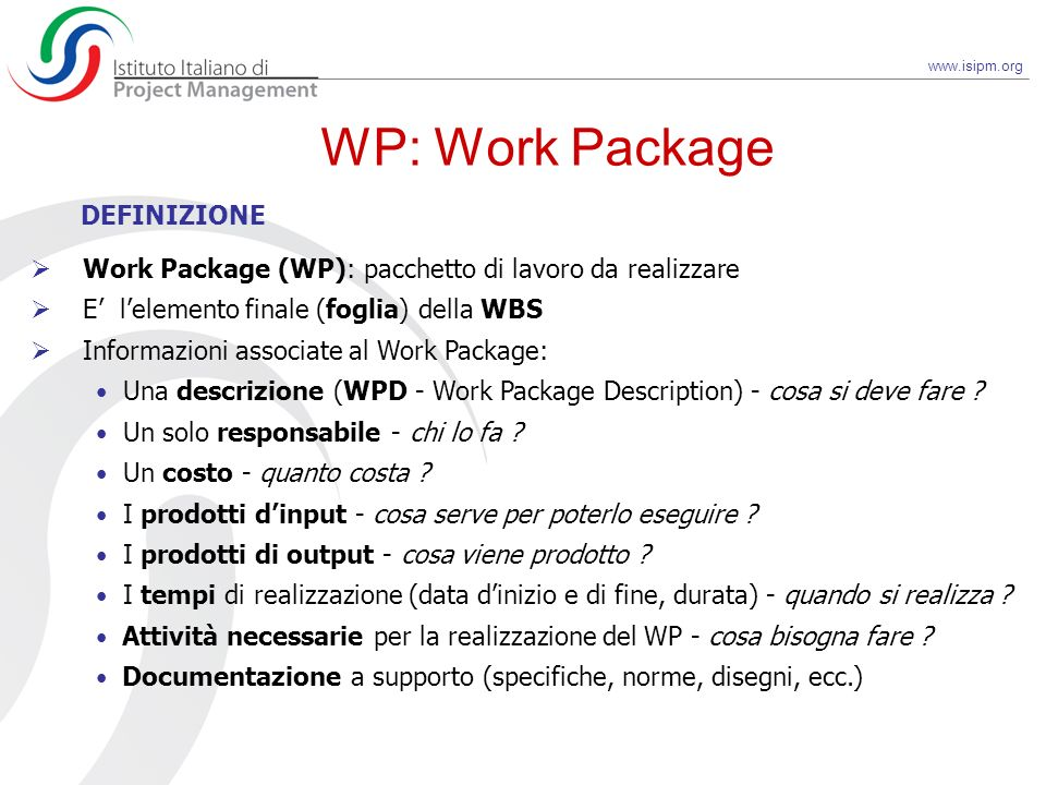 WP: Work Package DEFINIZIONE