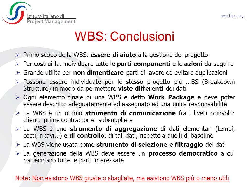 WBS: Conclusioni Primo scopo della WBS: essere di aiuto alla gestione del progetto.