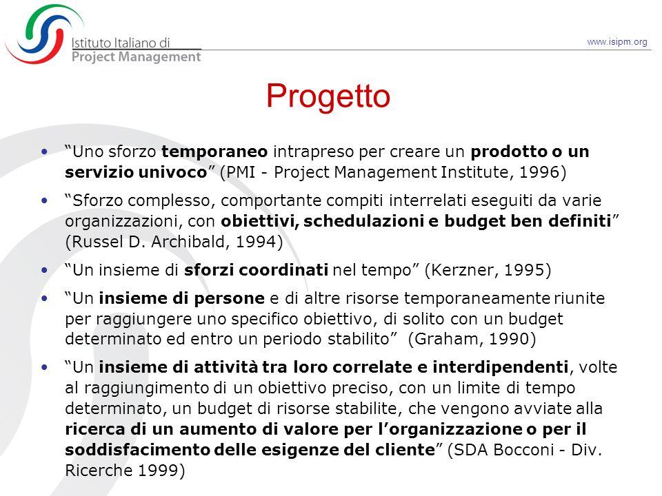 Progetto Uno sforzo temporaneo intrapreso per creare un prodotto o un servizio univoco (PMI - Project Management Institute, 1996)