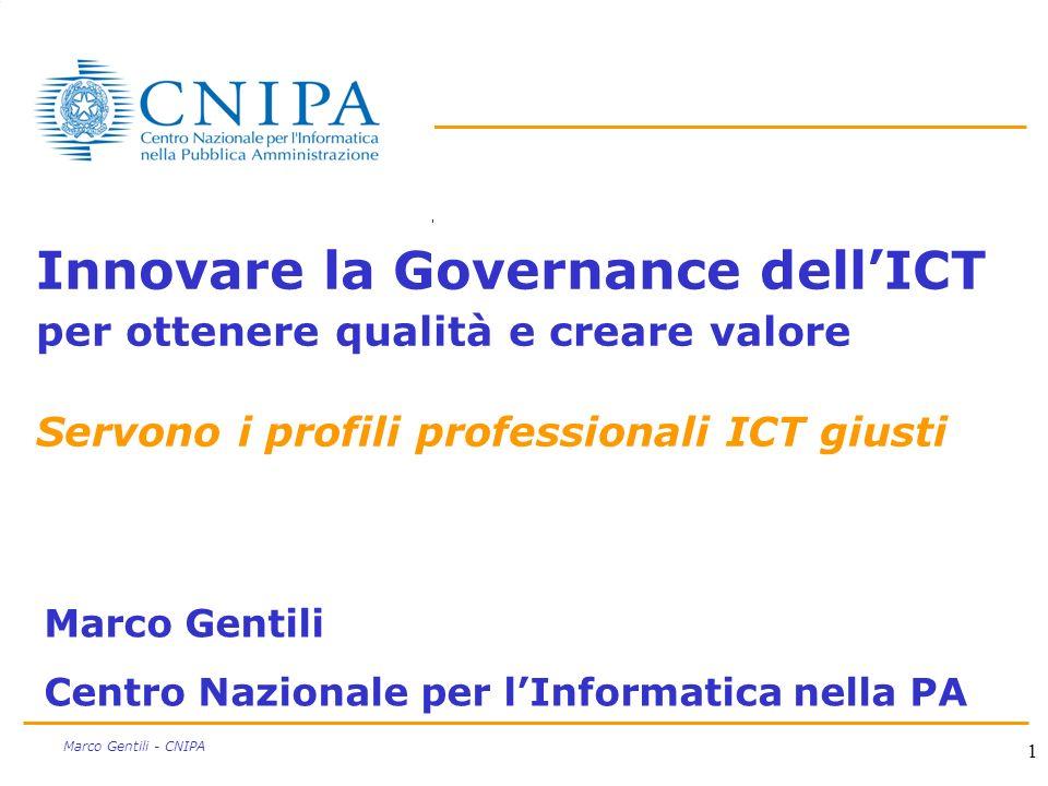 Innovare la Governance dell'ICT per ottenere qualità e creare valore Servono i profili professionali ICT giusti