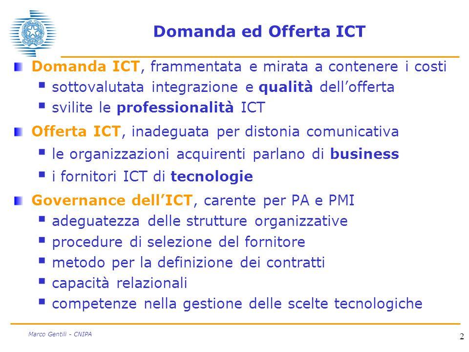 Domanda ed Offerta ICT Domanda ICT, frammentata e mirata a contenere i costi. sottovalutata integrazione e qualità dell'offerta.