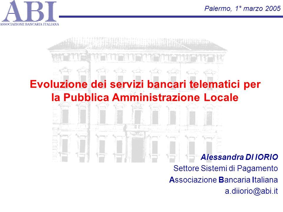 Palermo, 1° marzo 2005 Evoluzione dei servizi bancari telematici per la Pubblica Amministrazione Locale.