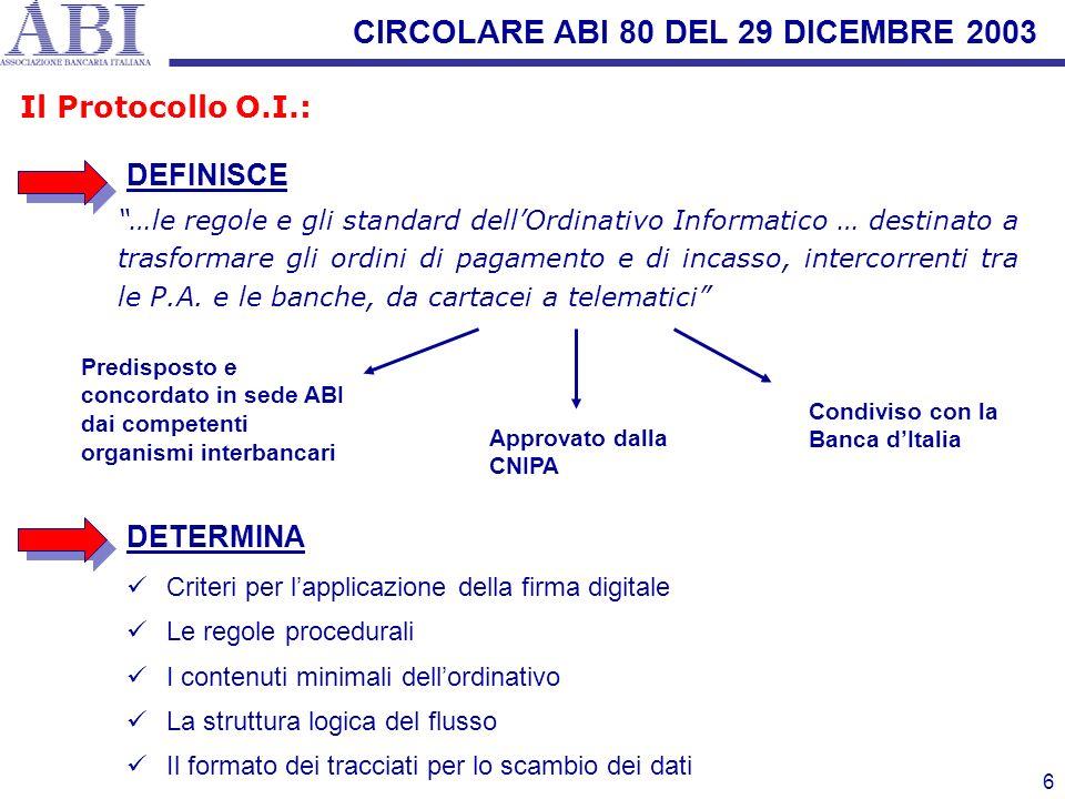 CIRCOLARE ABI 80 DEL 29 DICEMBRE 2003