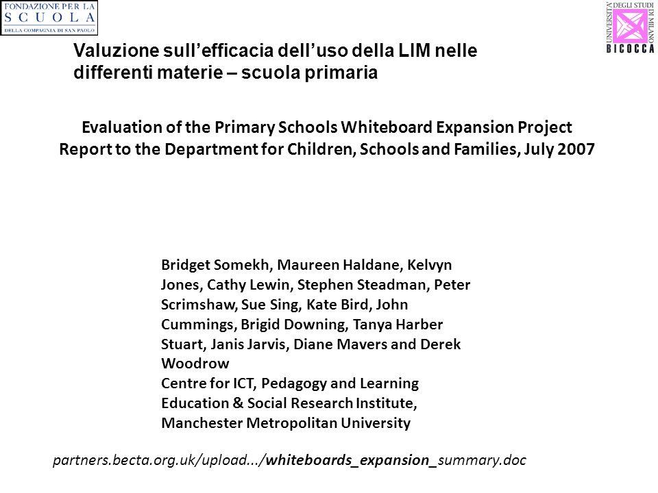Valuzione sull'efficacia dell'uso della LIM nelle differenti materie – scuola primaria