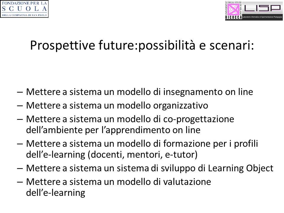 Prospettive future:possibilità e scenari: