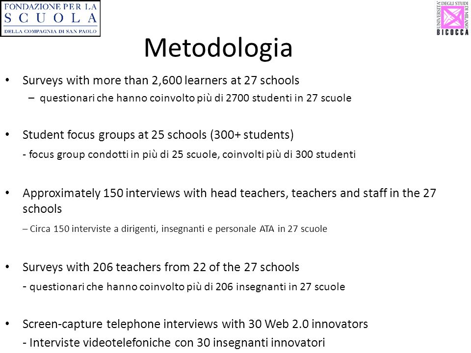 Metodologia Surveys with more than 2,600 learners at 27 schools