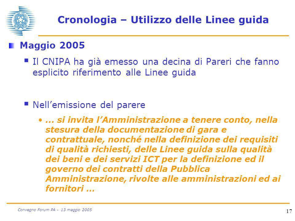 Cronologia – Utilizzo delle Linee guida