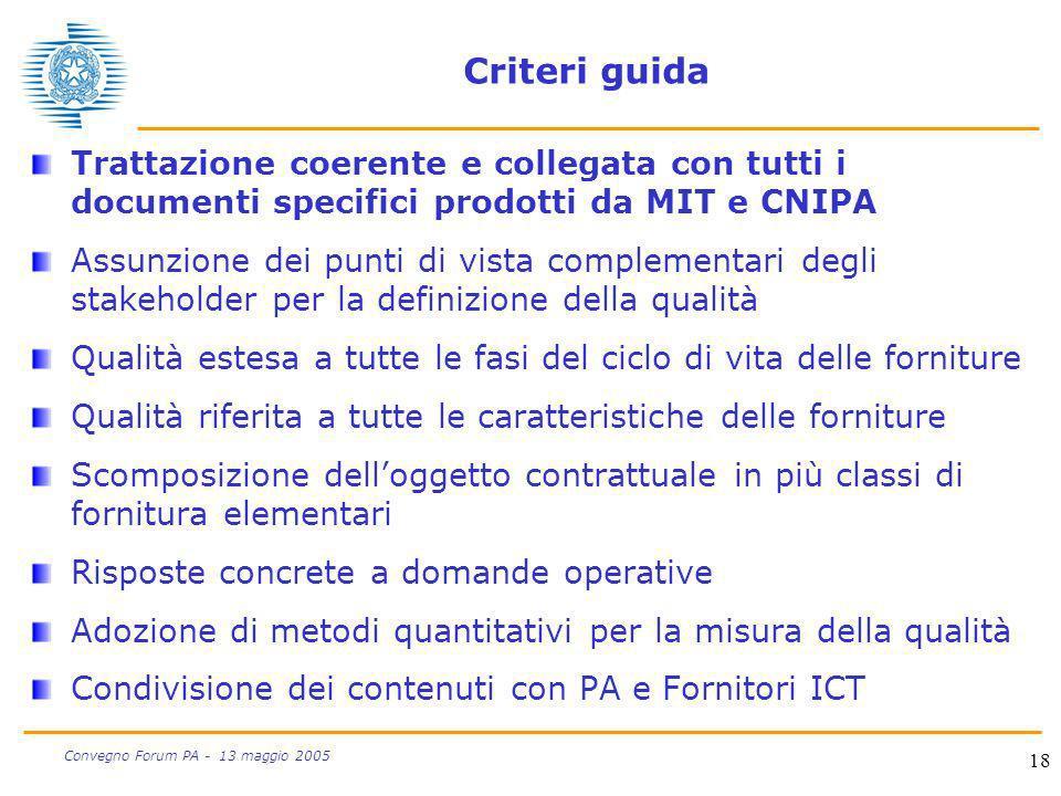 Criteri guida Trattazione coerente e collegata con tutti i documenti specifici prodotti da MIT e CNIPA.