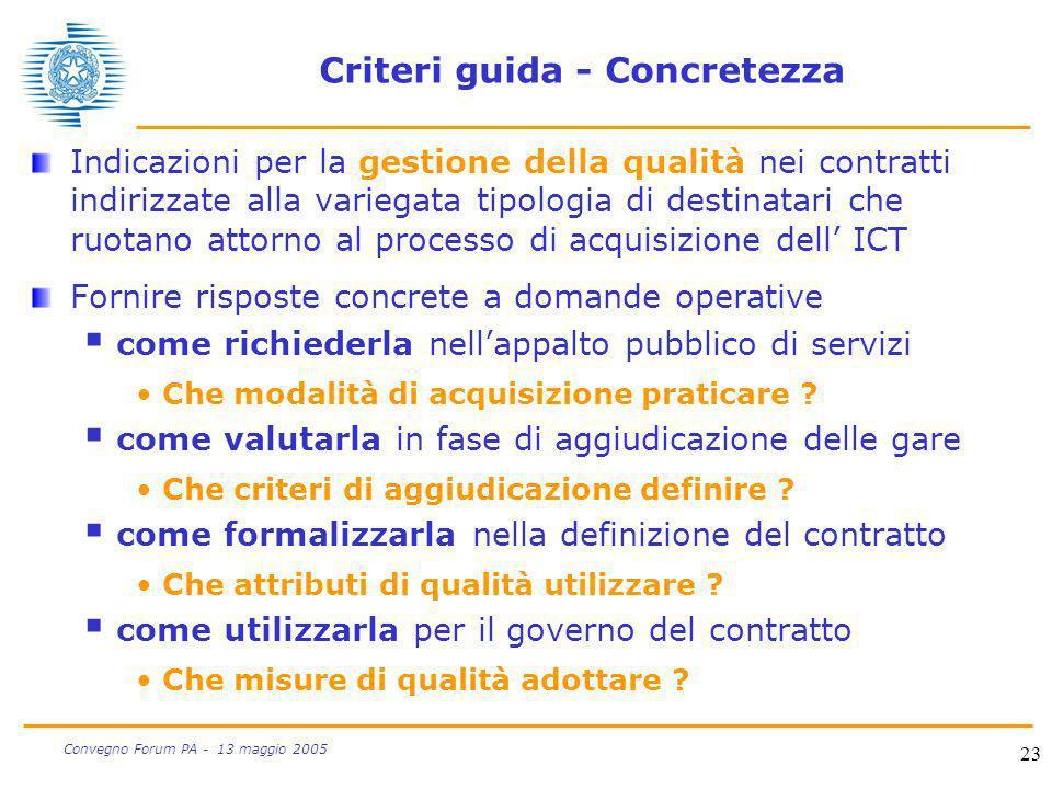 Criteri guida - Concretezza