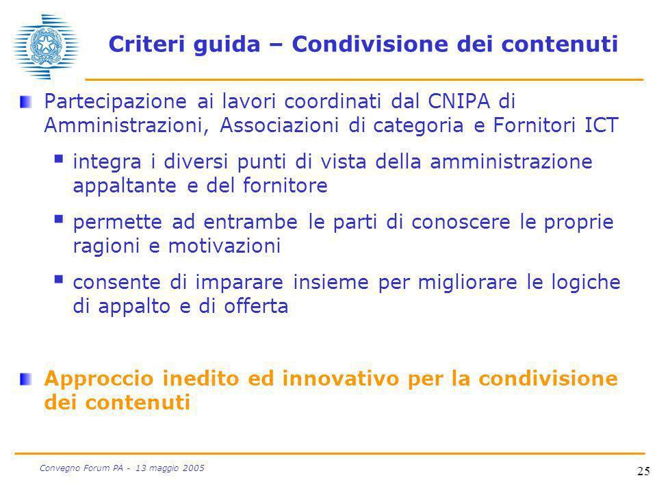 Criteri guida – Condivisione dei contenuti