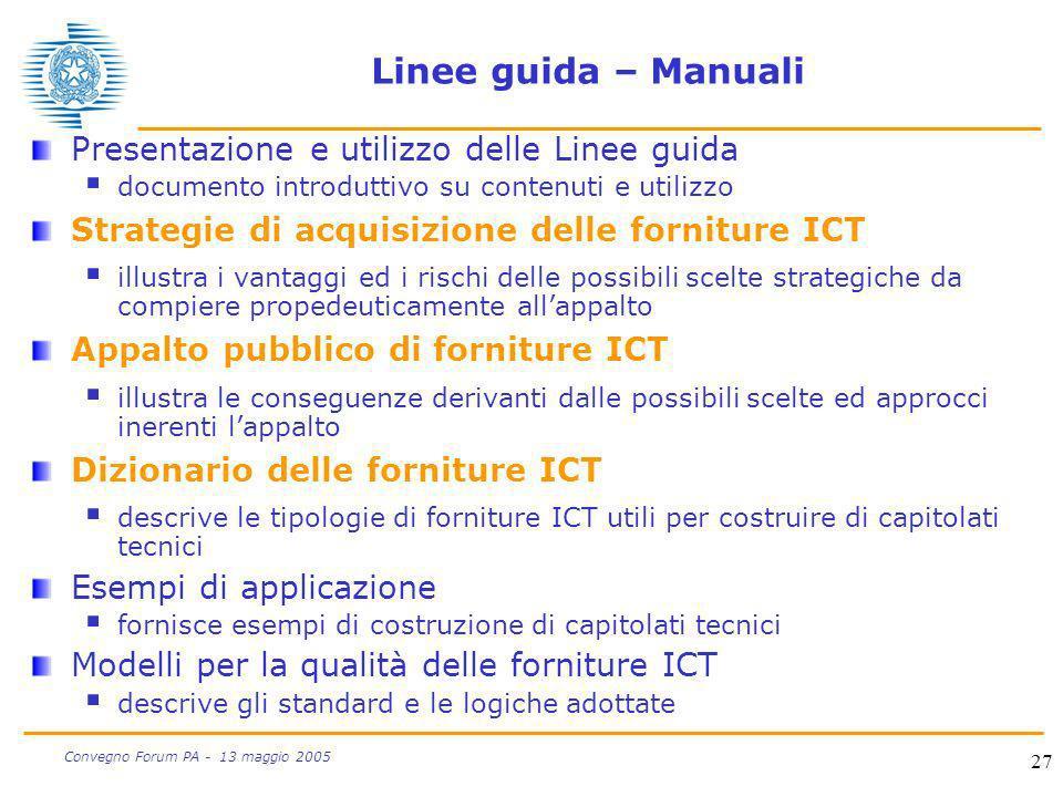 Linee guida – Manuali Presentazione e utilizzo delle Linee guida