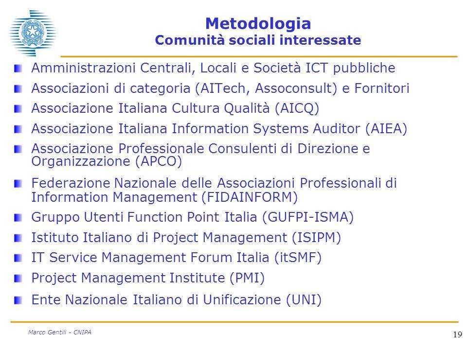 Metodologia Comunità sociali interessate