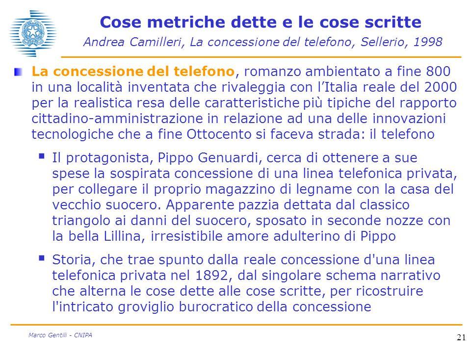Cose metriche dette e le cose scritte Andrea Camilleri, La concessione del telefono, Sellerio, 1998