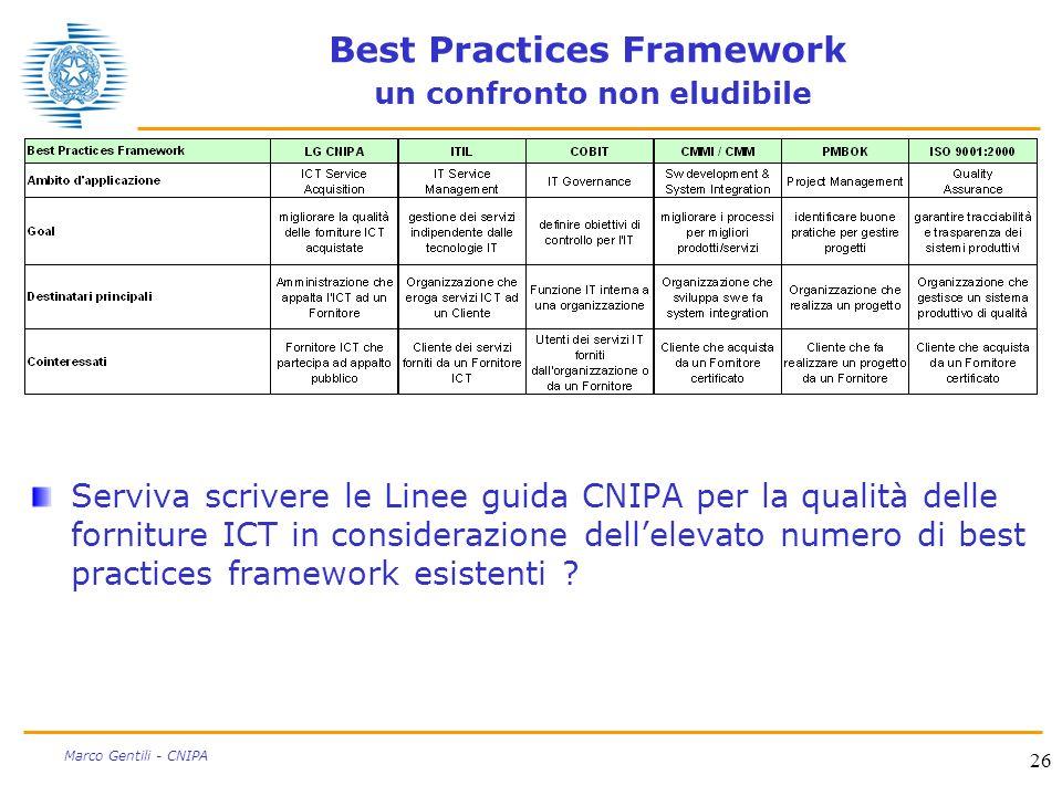 Best Practices Framework un confronto non eludibile