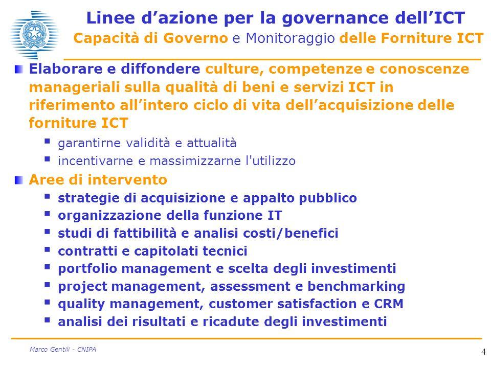 Linee d'azione per la governance dell'ICT Capacità di Governo e Monitoraggio delle Forniture ICT