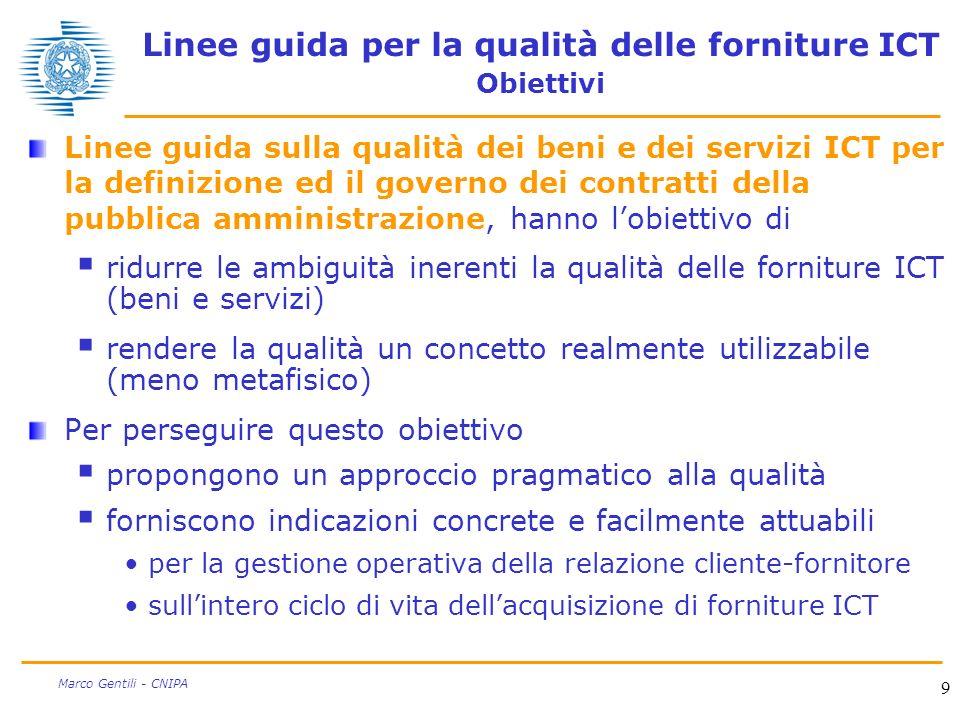Linee guida per la qualità delle forniture ICT Obiettivi