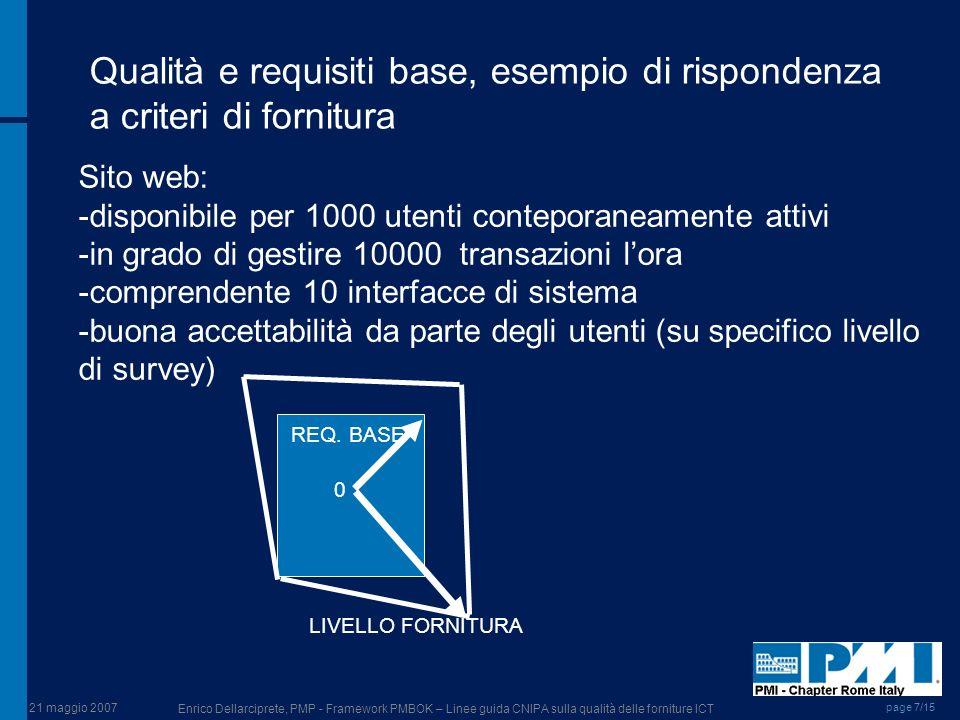 Qualità e requisiti base, esempio di rispondenza a criteri di fornitura