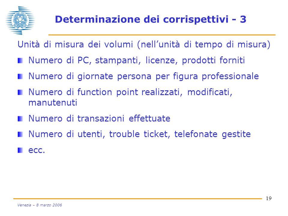 Determinazione dei corrispettivi - 3