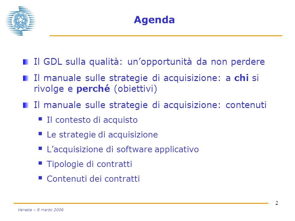 Agenda Il GDL sulla qualità: un'opportunità da non perdere
