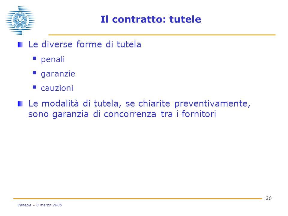 Il contratto: tutele Le diverse forme di tutela