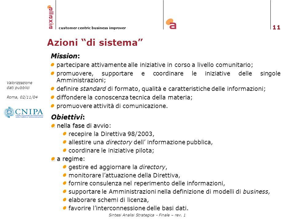 Azioni di sistema Mission: Obiettivi: