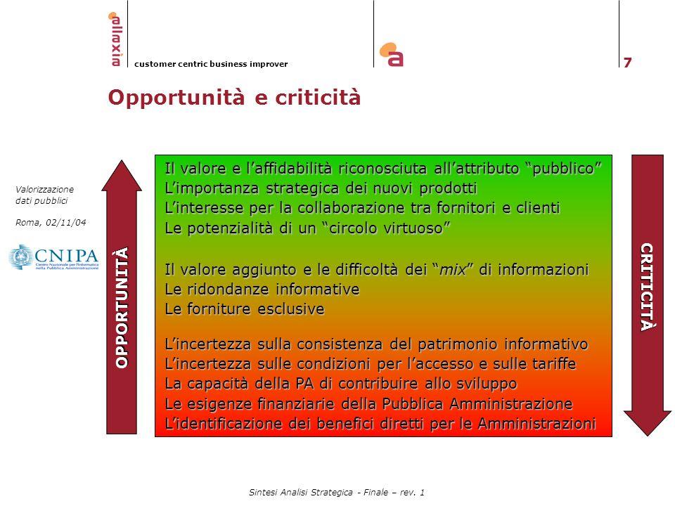 Opportunità e criticità