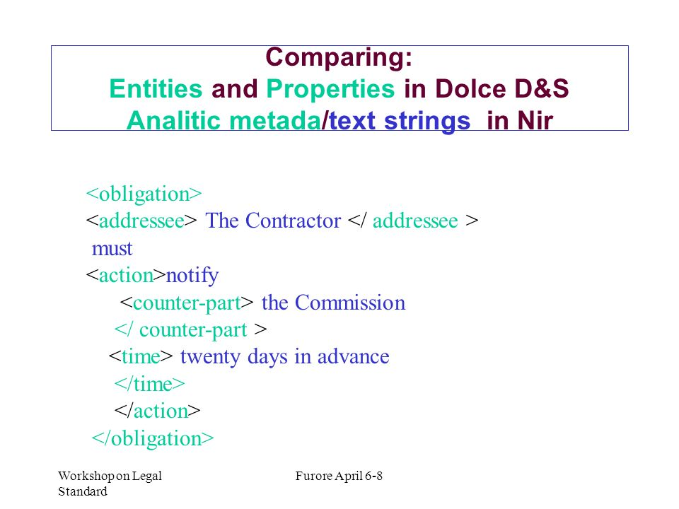 Comparing: Entities and Properties in Dolce D&S Analitic metada/text strings in Nir