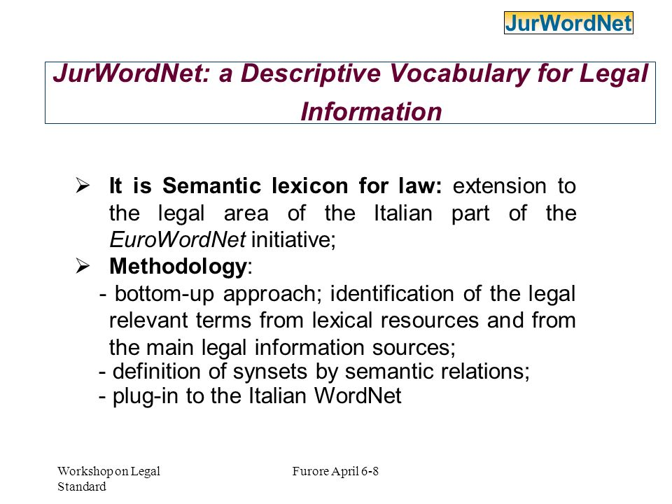 JurWordNet: a Descriptive Vocabulary for Legal Information