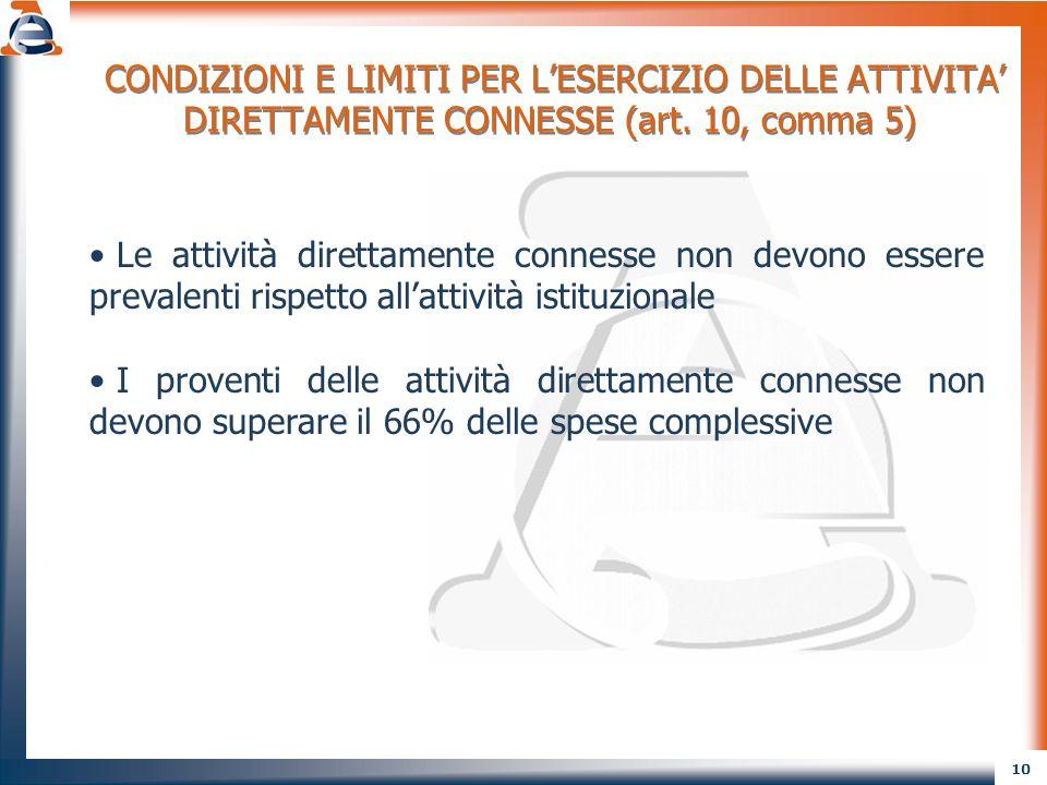 CONDIZIONI E LIMITI PER L'ESERCIZIO DELLE ATTIVITA' DIRETTAMENTE CONNESSE (art. 10, comma 5)