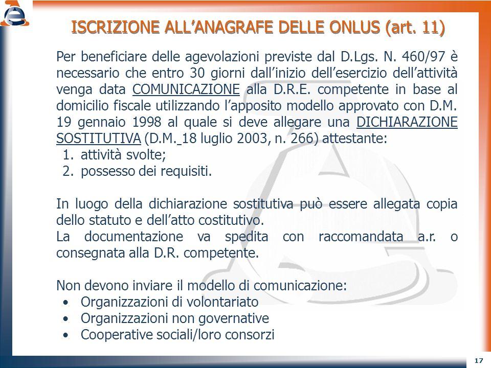 ISCRIZIONE ALL'ANAGRAFE DELLE ONLUS (art. 11)