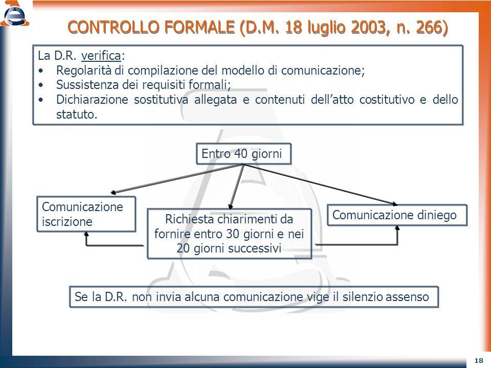 CONTROLLO FORMALE (D.M. 18 luglio 2003, n. 266)