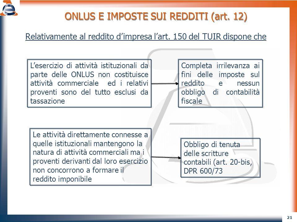 ONLUS E IMPOSTE SUI REDDITI (art. 12)