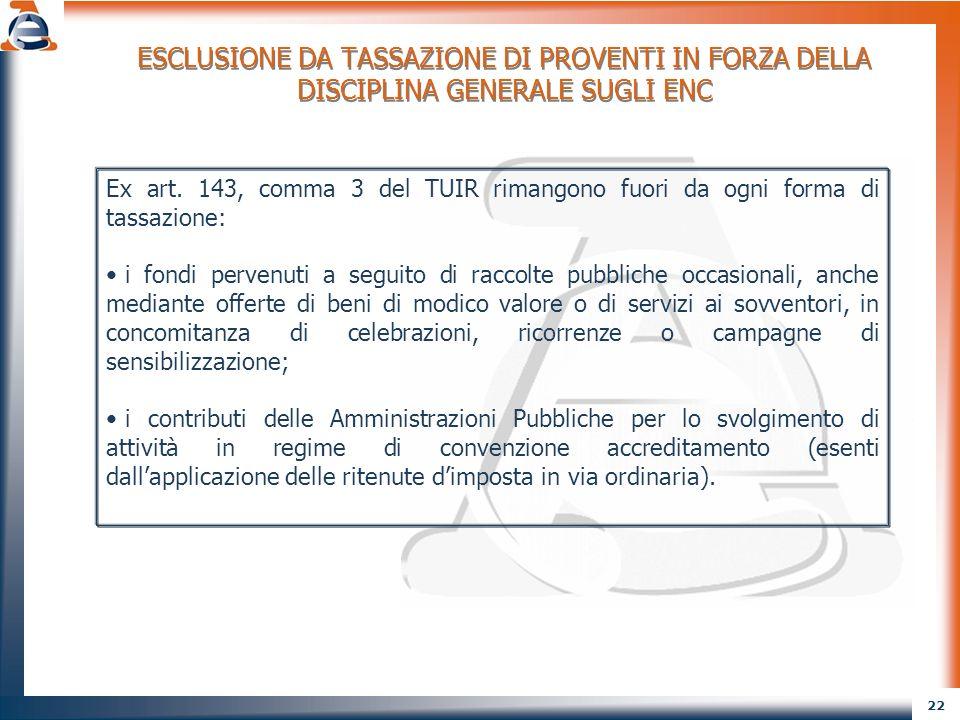 ESCLUSIONE DA TASSAZIONE DI PROVENTI IN FORZA DELLA DISCIPLINA GENERALE SUGLI ENC