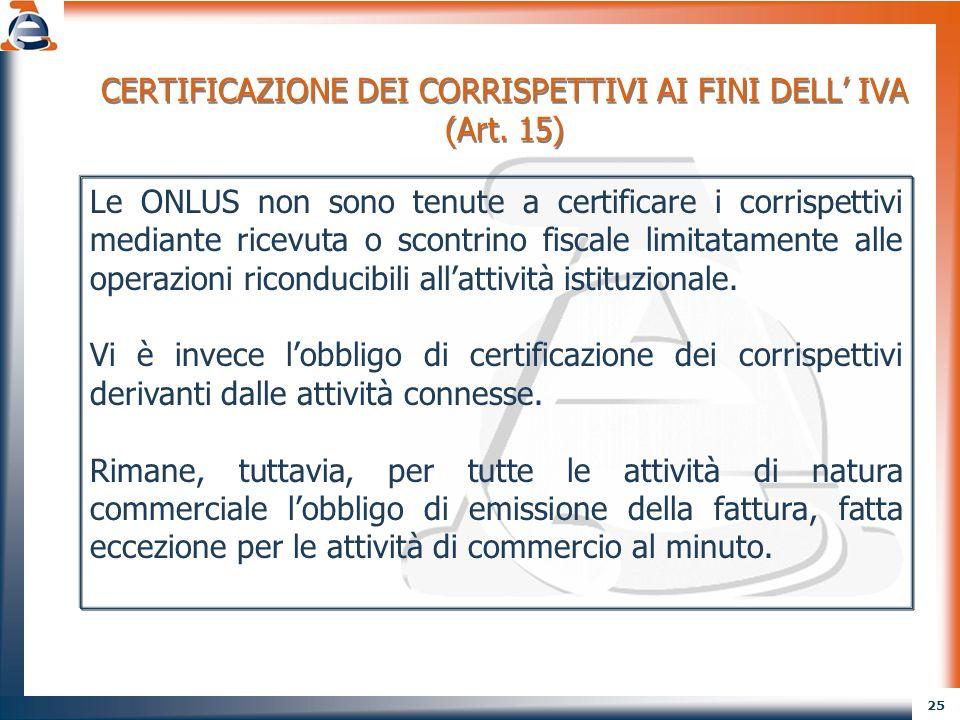 CERTIFICAZIONE DEI CORRISPETTIVI AI FINI DELL' IVA (Art. 15)