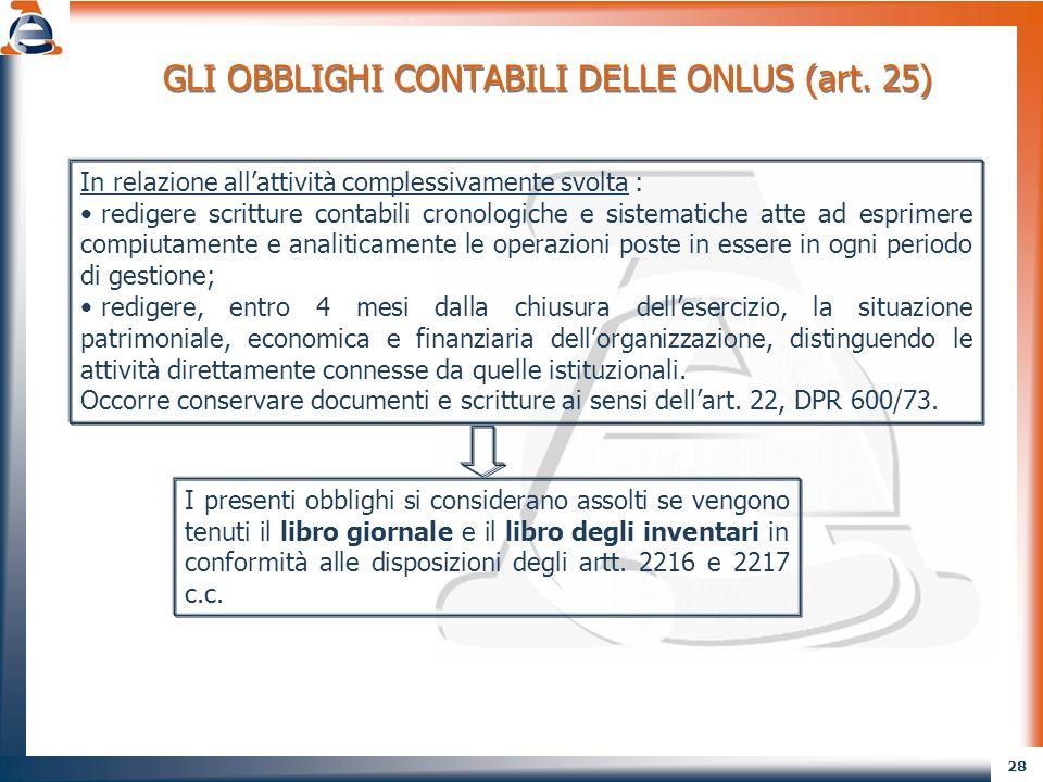 GLI OBBLIGHI CONTABILI DELLE ONLUS (art. 25)