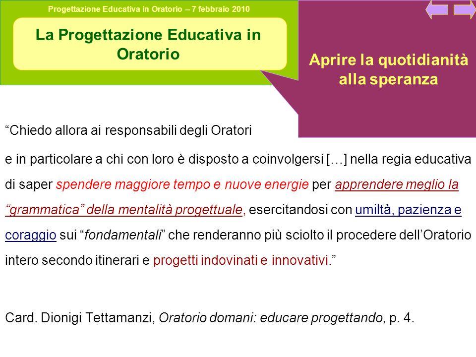 La Progettazione Educativa in Oratorio