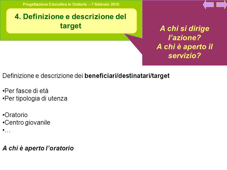 4. Definizione e descrizione del target