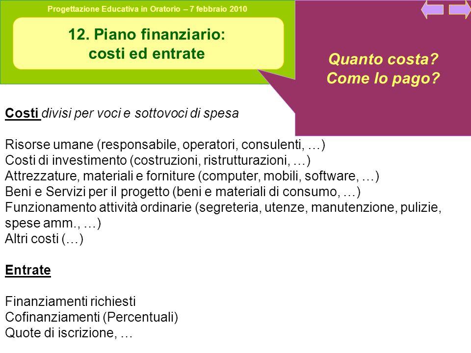 12. Piano finanziario: costi ed entrate