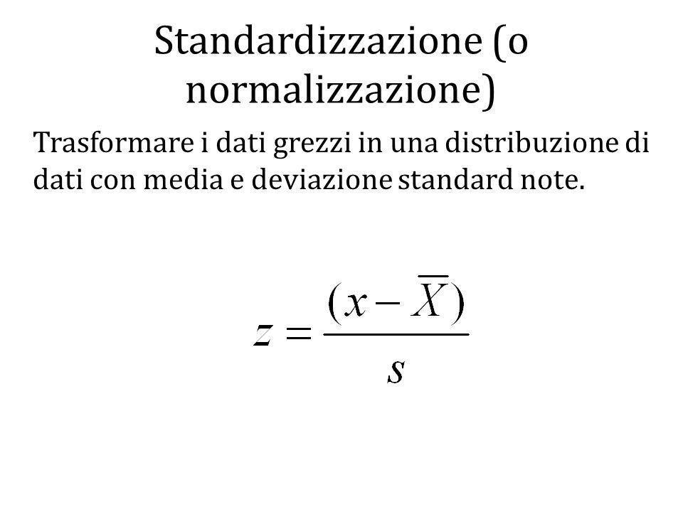 Standardizzazione (o normalizzazione)