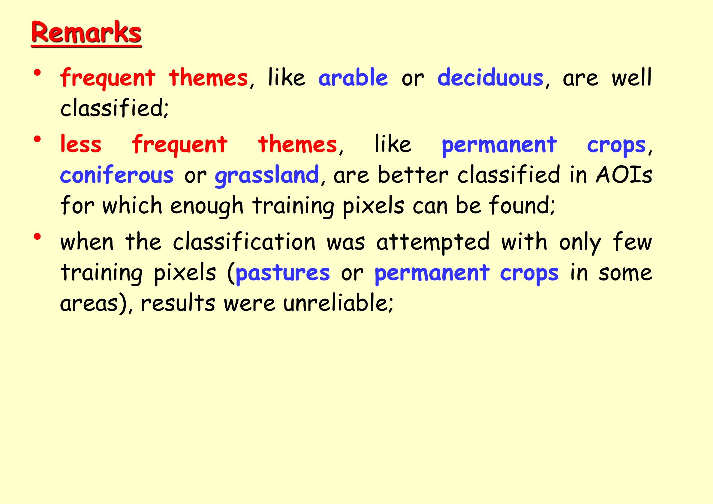 Remarks frequent themes, like arable or deciduous, are well classified;