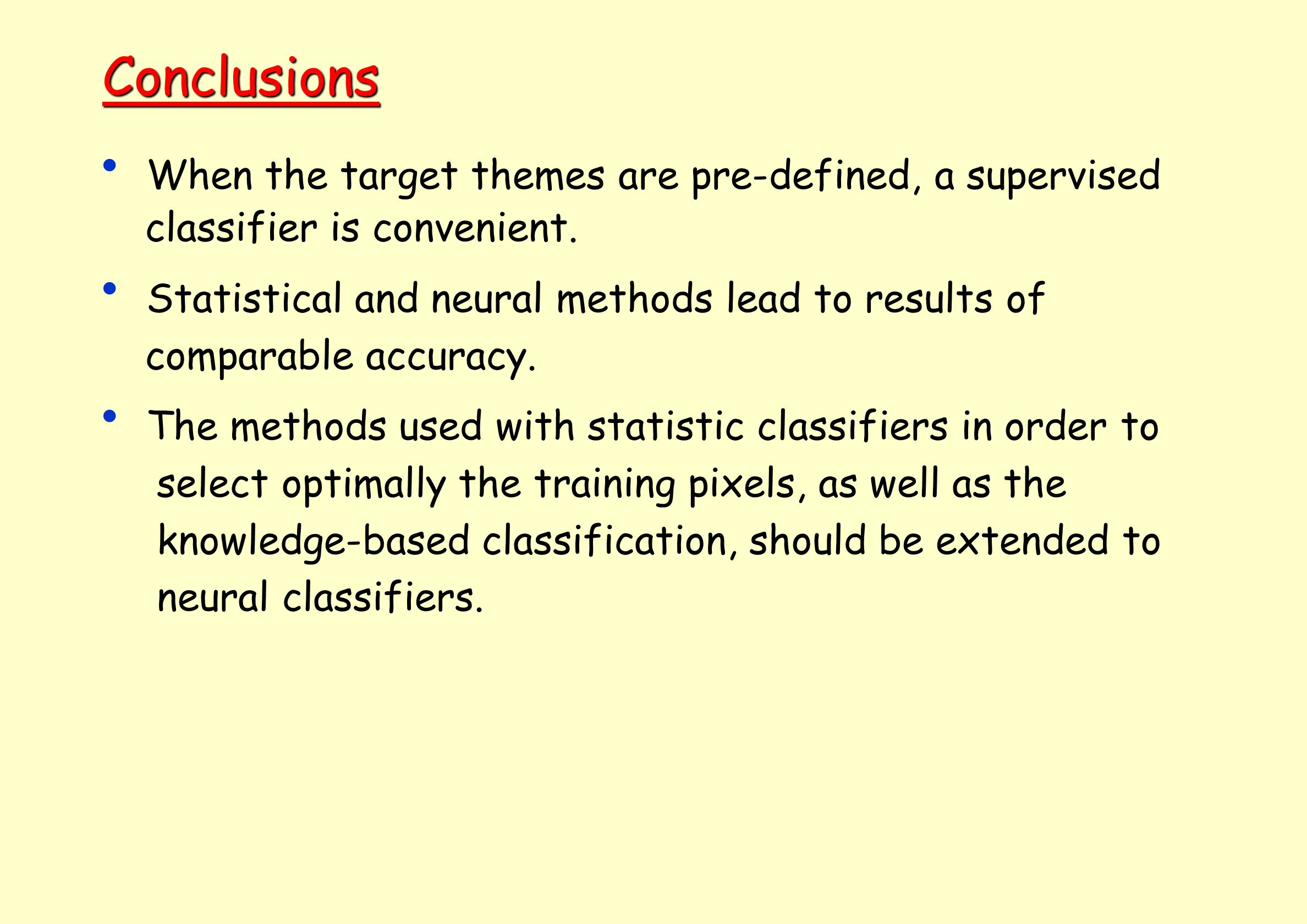 Conclusions When the target themes are pre-defined, a supervised