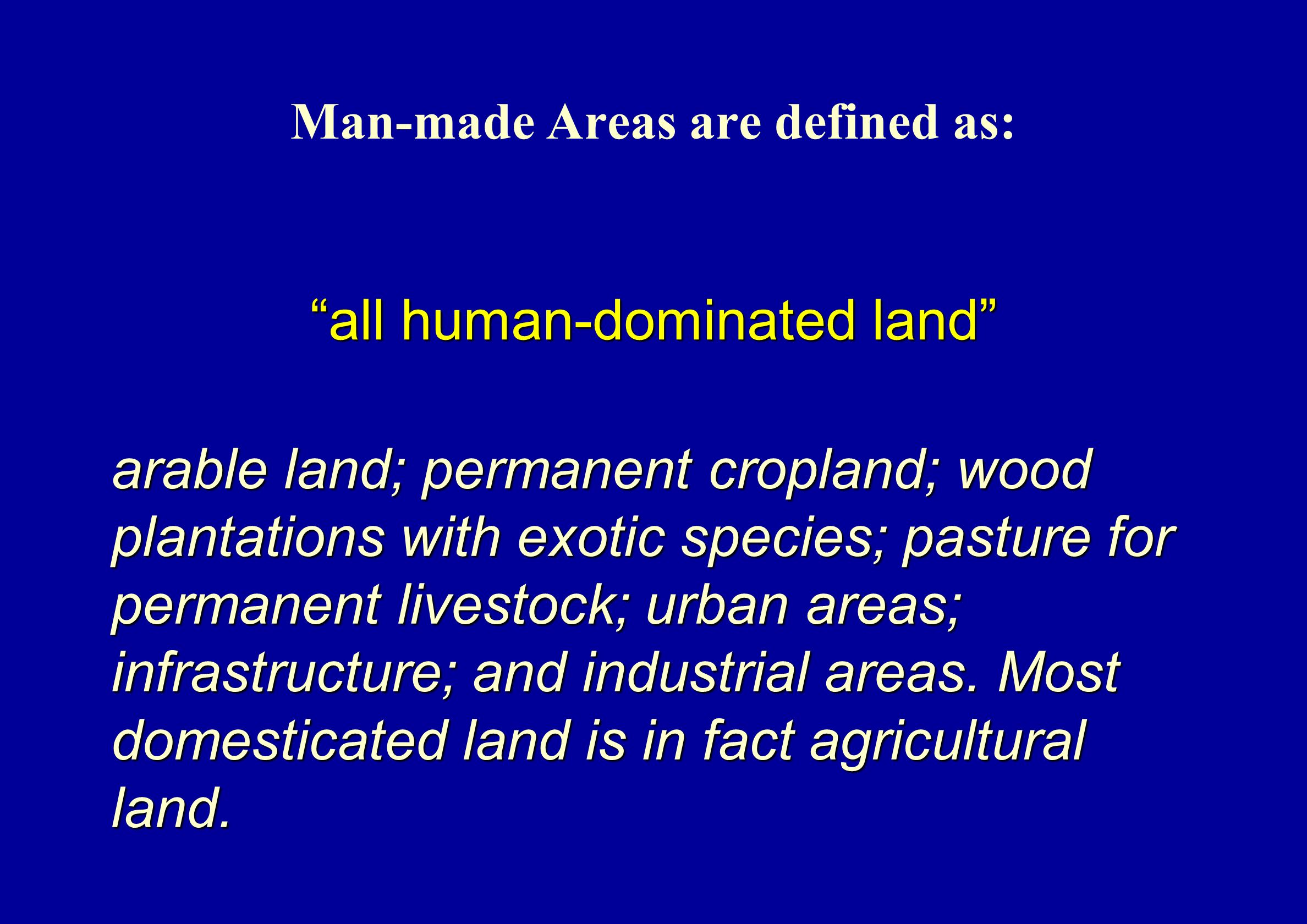 Man-made Areas are defined as: