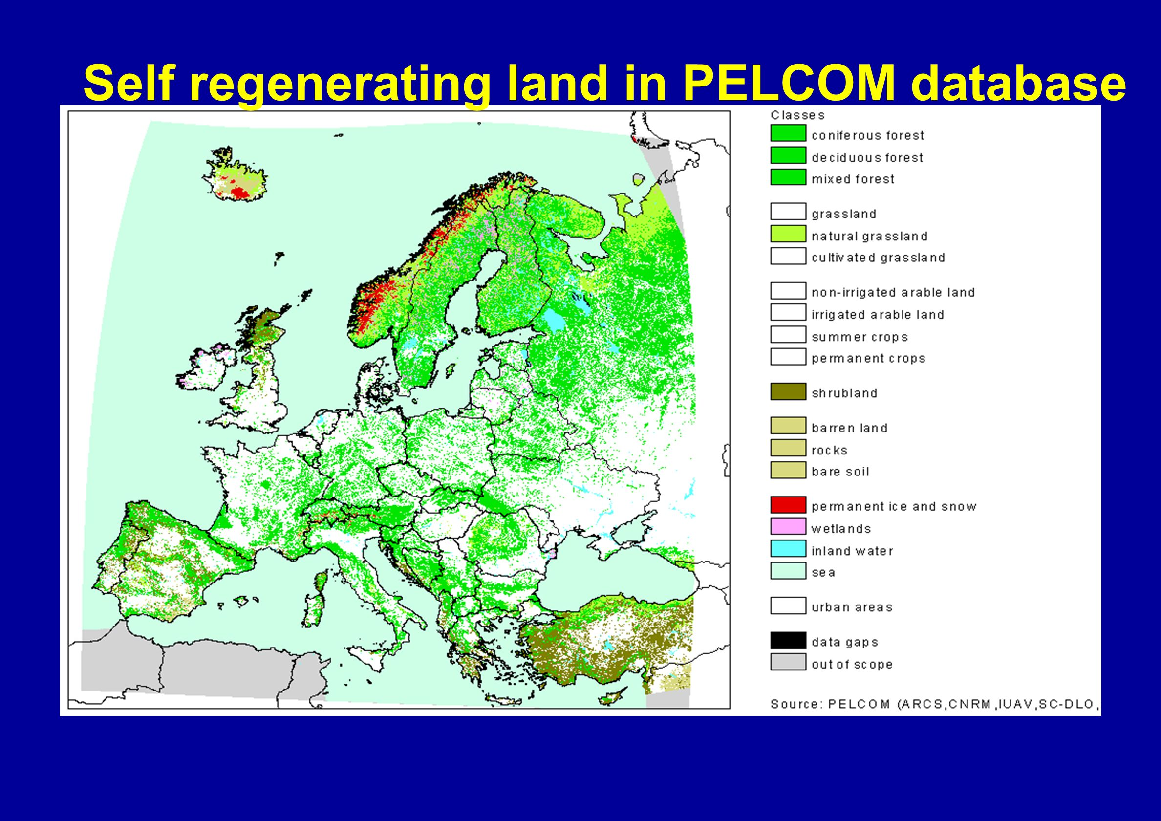 Self regenerating land in PELCOM database