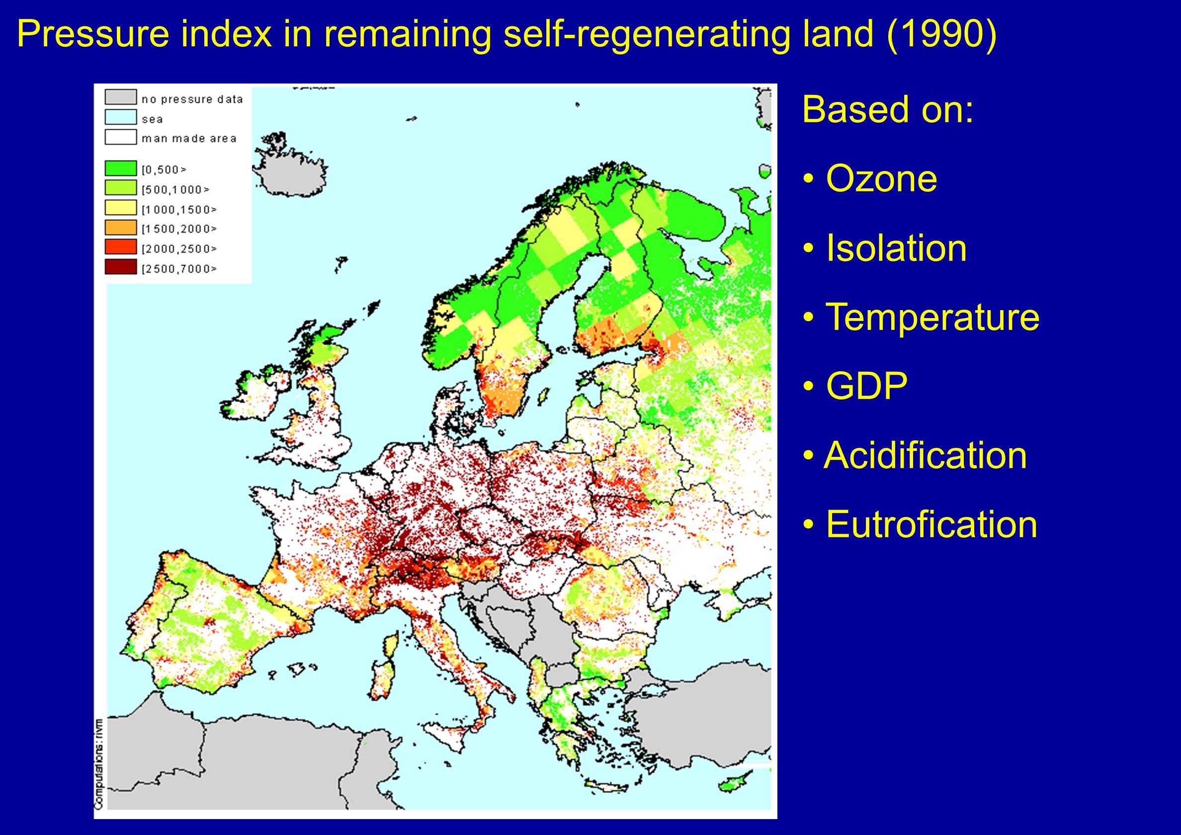 Pressure index in remaining self-regenerating land (1990)