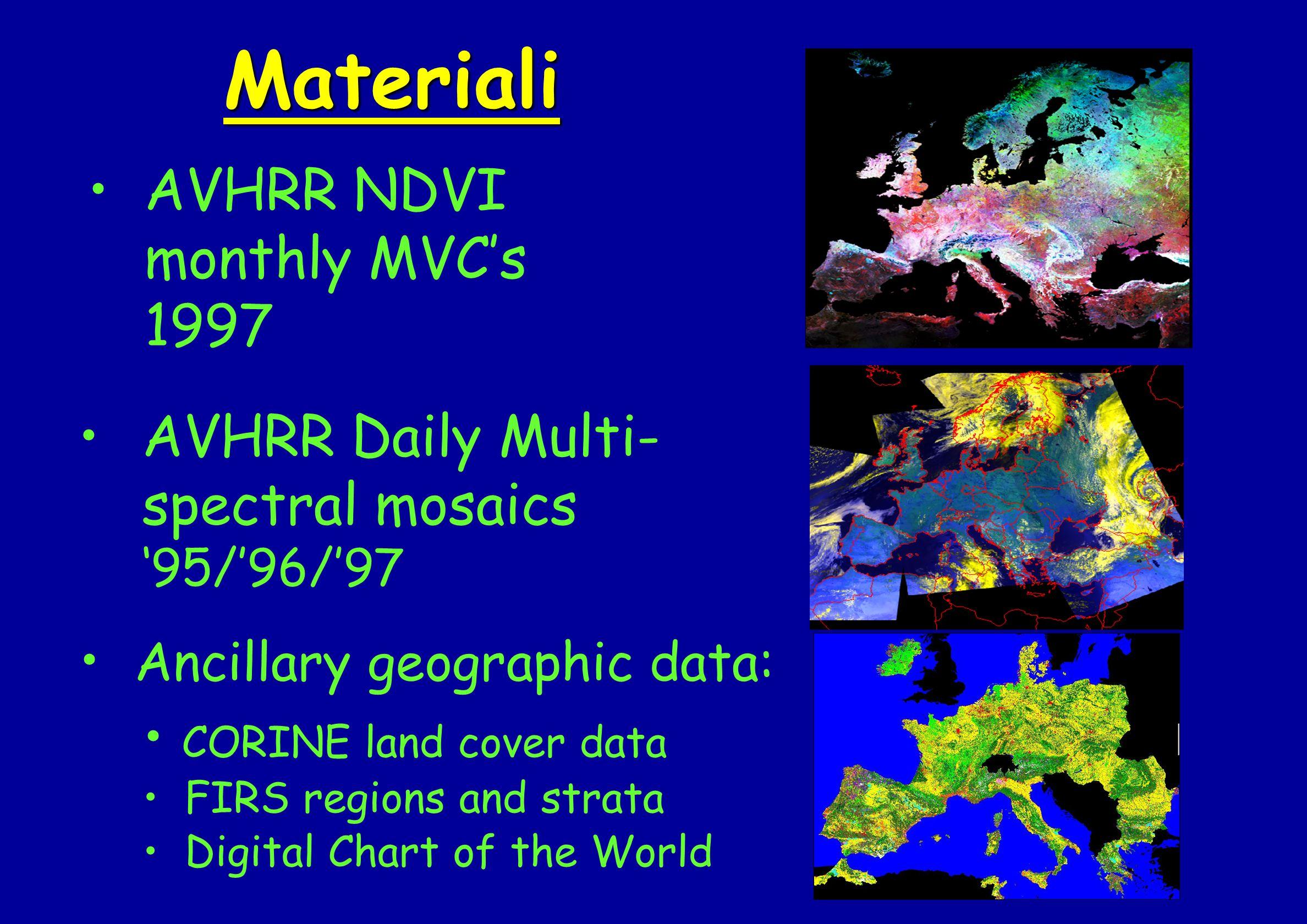 Materiali AVHRR NDVI monthly MVC's 1997