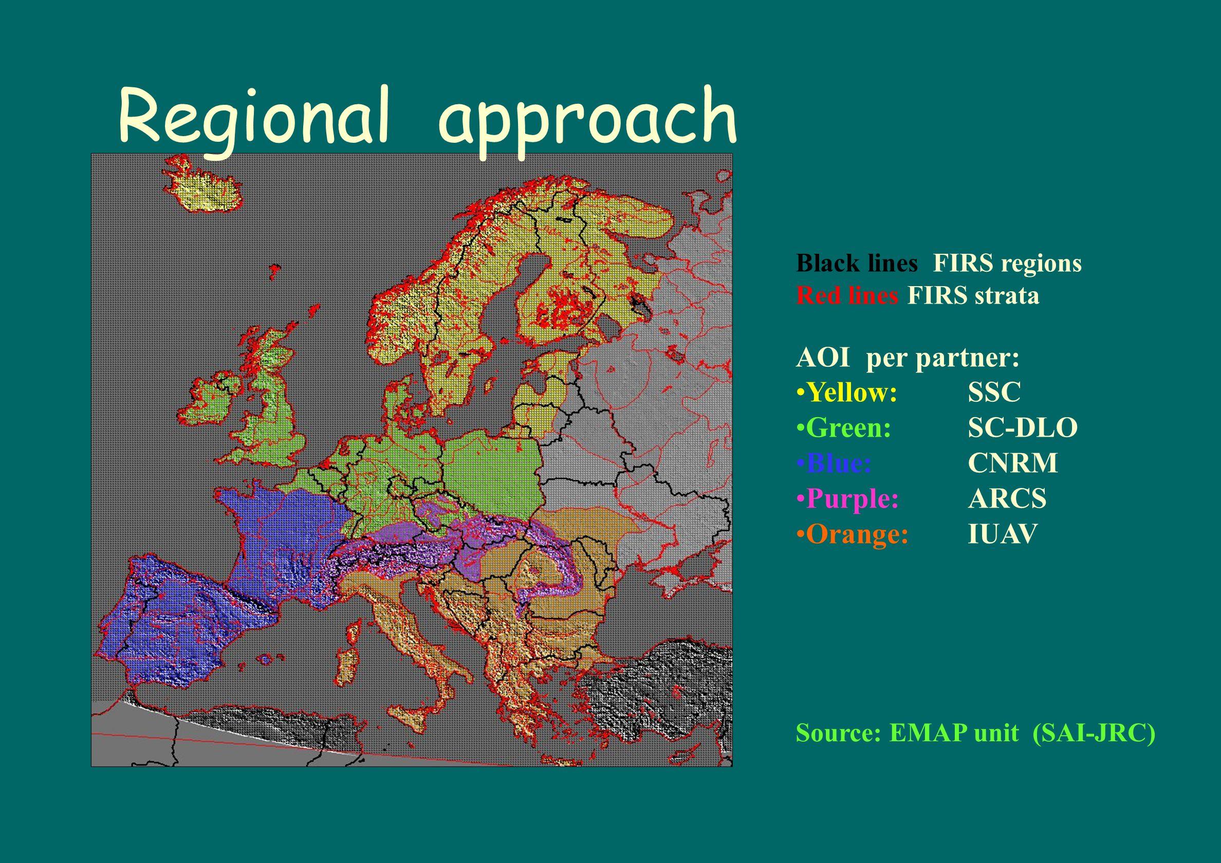 Regional approach AOI per partner: Yellow: SSC Green: SC-DLO