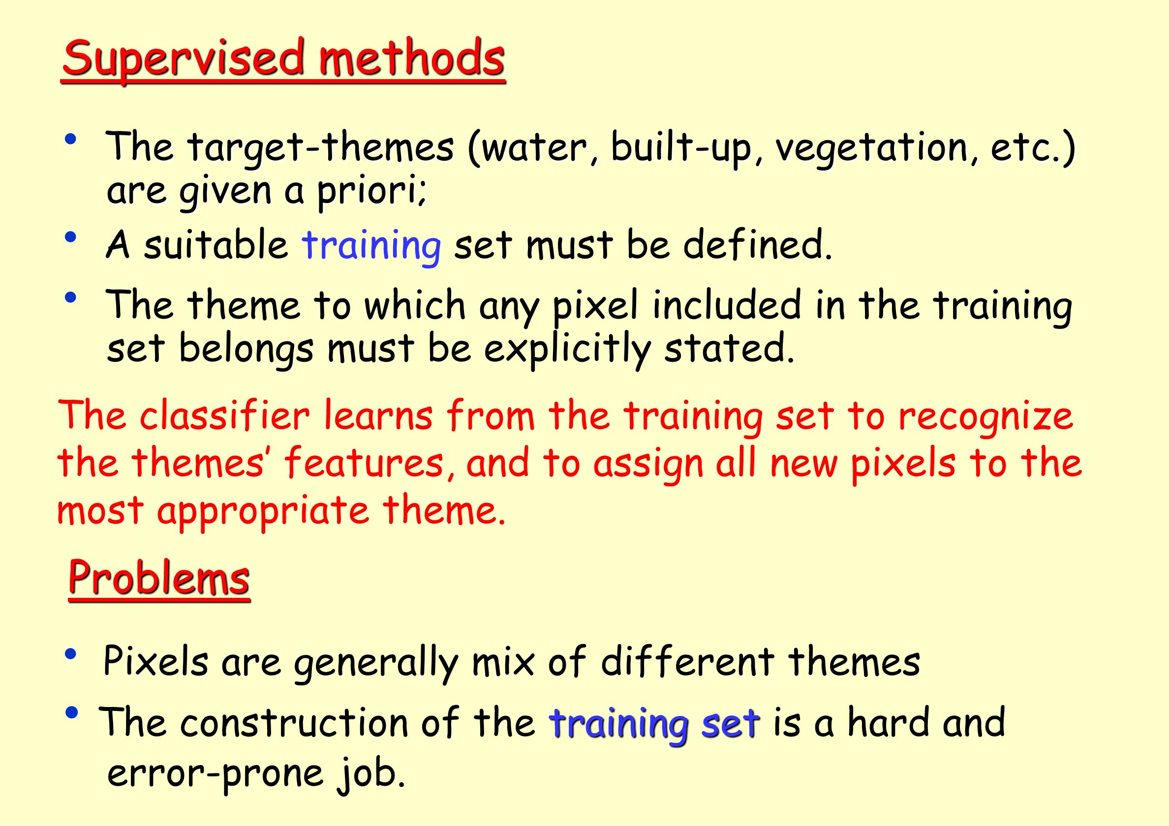 Supervised methods Problems are given a priori;