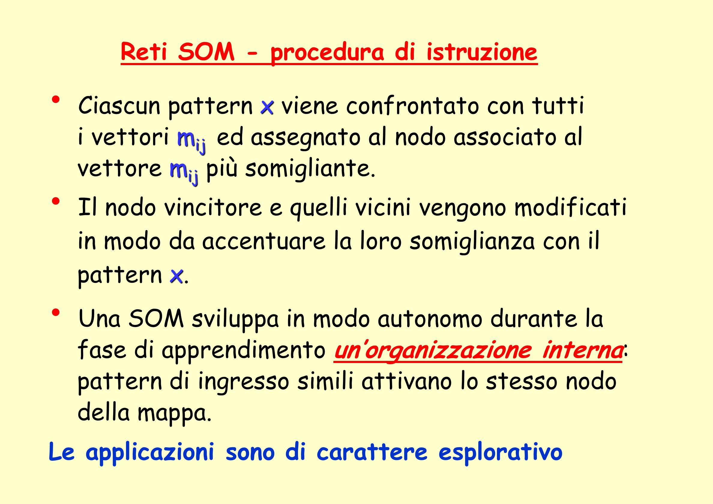 Reti SOM - procedura di istruzione