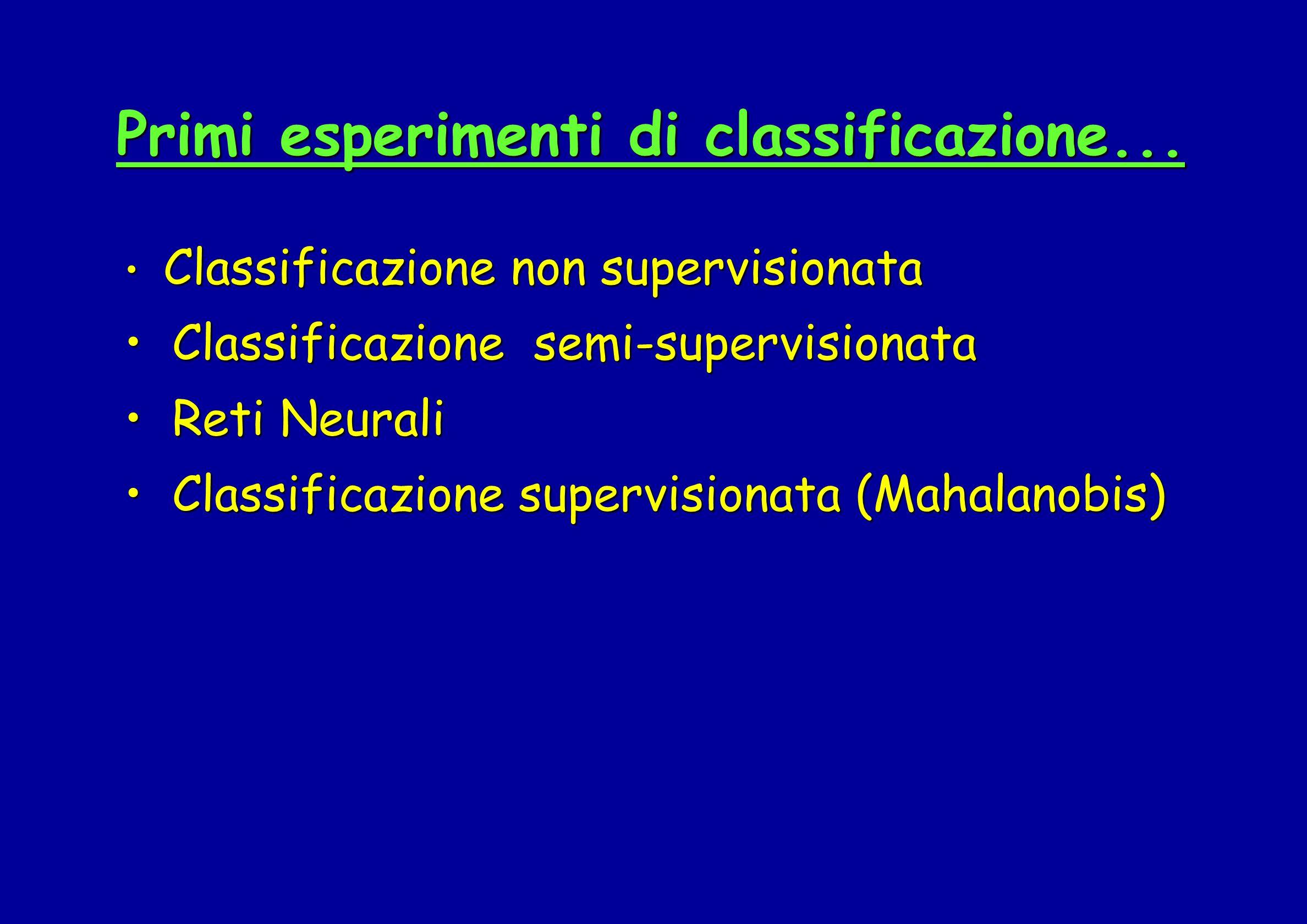 Primi esperimenti di classificazione...