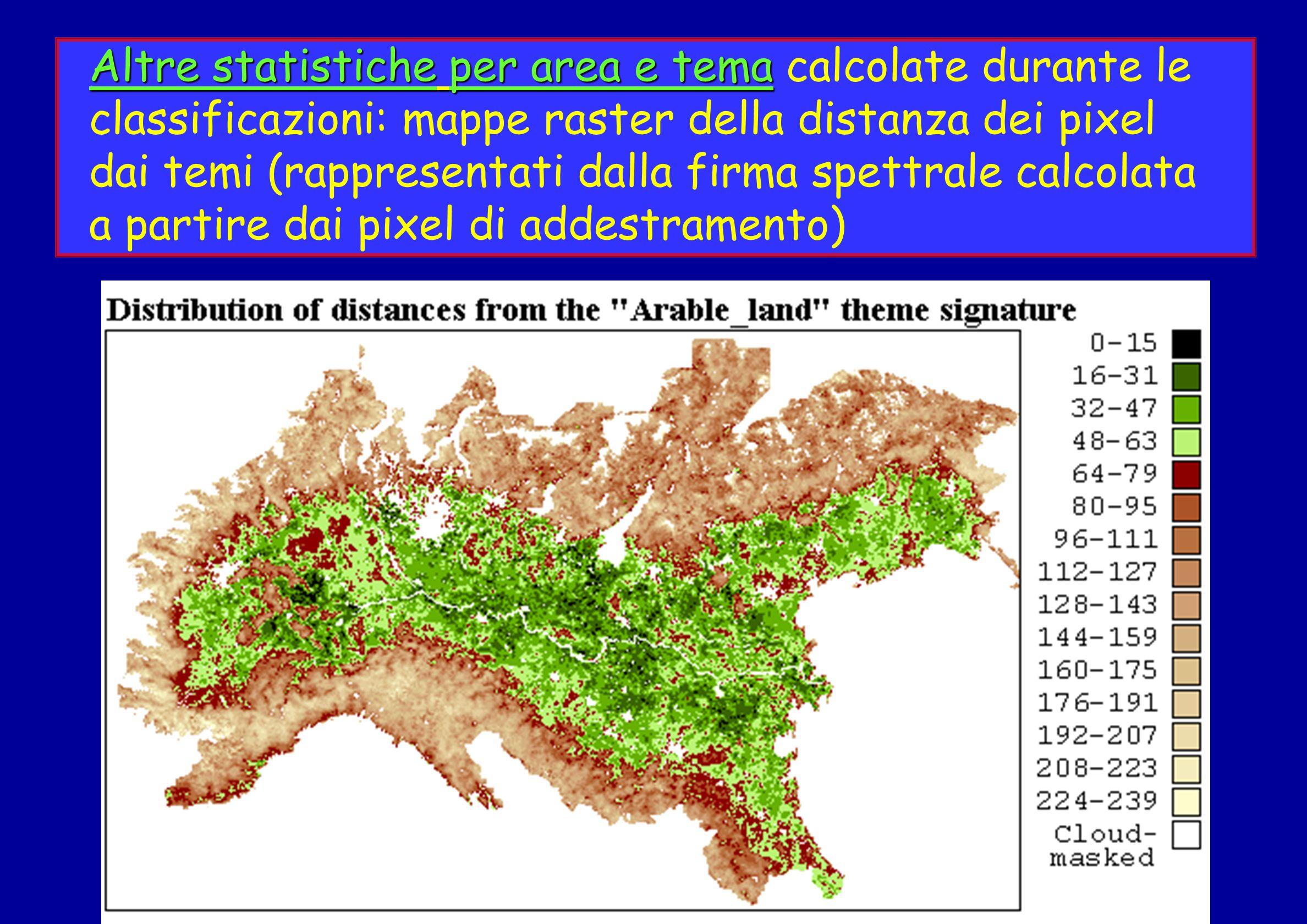 Altre statistiche per area e tema calcolate durante le